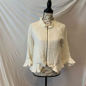EUC-Cupcakes and Cashmere white long sleeve blouse